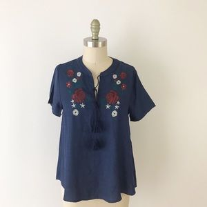 Boho Embroidered Navy Peasant Blouse Tassel Short